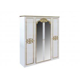 Шкаф 4-х дверный Ева глянец белый-золото