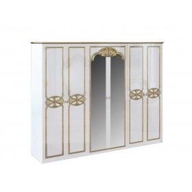 Шкаф 6-ти дверный Ева глянец белый-золото