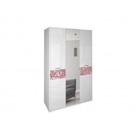 Шкаф трехдверный Флора Белый глянец