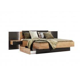 Кровать Luna 180х200 с тумбами Лава/Дуб Крафт
