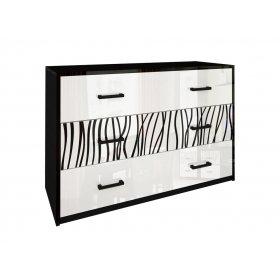 Комод три ящика Терра белый глянец/черный мат
