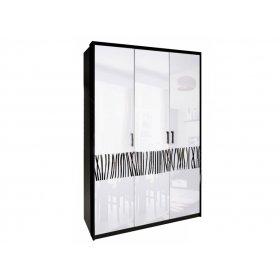 Шкаф трехдверный Терра без зеркал белый глянец/черный мат