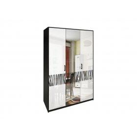 Шкаф трехдверный Терра белый глянец/черный мат