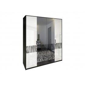 Шкаф четырехдверный Терра белый глянец/черный мат