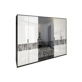 Шкаф шестидверный Терра белый глянец/черный мат