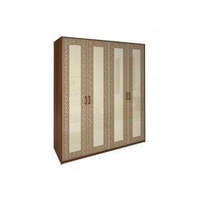 Шкаф четырехдверный Виола ваниль/вишня бюзум без зеркал