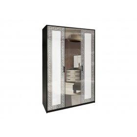 Шкаф трехдверный Виола белый глянец/черный мат