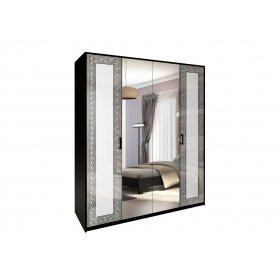 Шкаф четырехдверный Виола белый глянец/черный мат