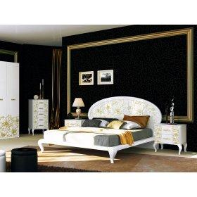 Спальный гарнитур Пиония Глянец белый/золото с шестидверным шкафом