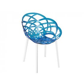 Кресло Flora синю с белыми ніжками