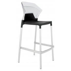 Барный стул Ego-S прозрачный с черным