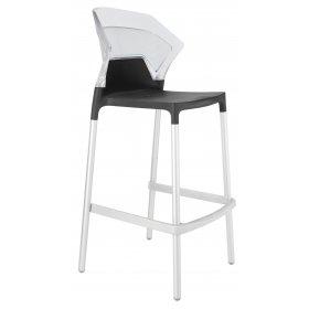 Барный стул Ego-S прозрачный с антрацитом
