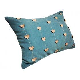 Декоративная подушка Сердечки голубая