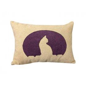 Декоративная подушка бежевая Кошка