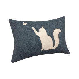 Декоративная подушка синяя Котенок