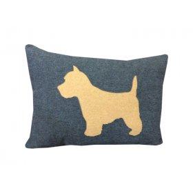 Декоративная подушка синяя Пёсик
