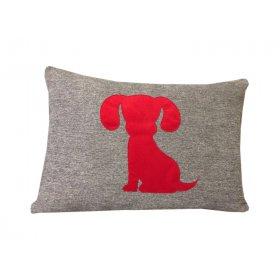Декоративная подушка серая Щенок