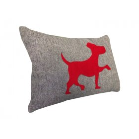 Декоративная подушка серая Собачка