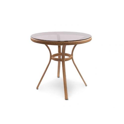 Стол Блюз д.80 плетеная столешница со стеклом