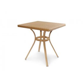 Стол Флэш 80х80 плетеная столешница со стеклом