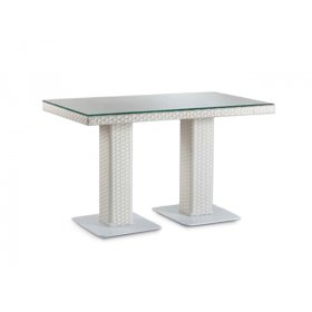 Стол Мартин 140х80 плетеная столешница со стеклом
