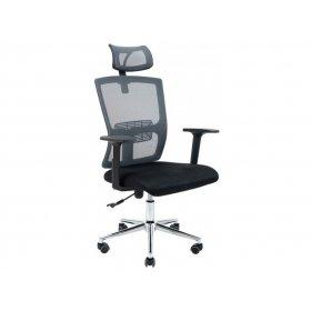 Кресло Зума сетка спинка серая/ сидение черное