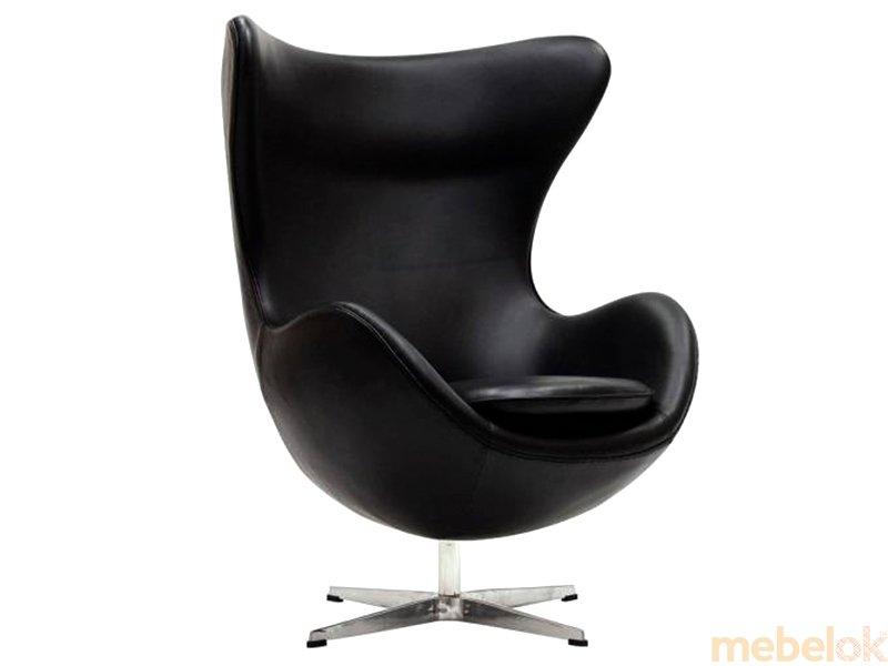 мягкое кресло с видом в обстановке (Кресло ЭГГ кожа черный)