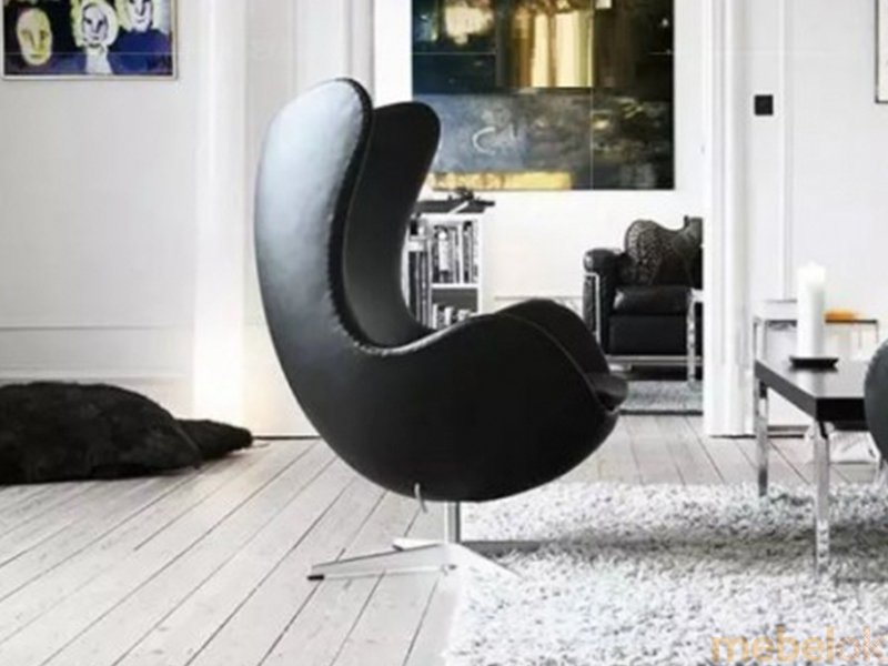 Кресло ЭГГ кожа черный с другого ракурса