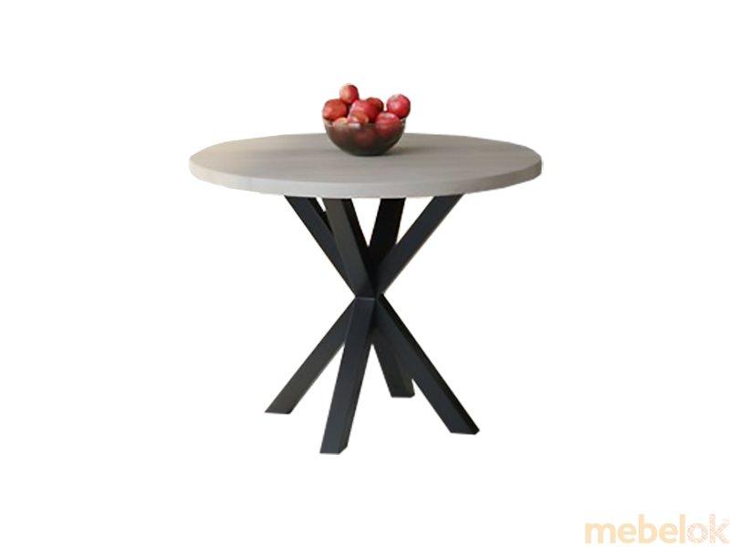 Обеденный стол HG110 Горсенс Круглый 90 ДСП Дуб Серый