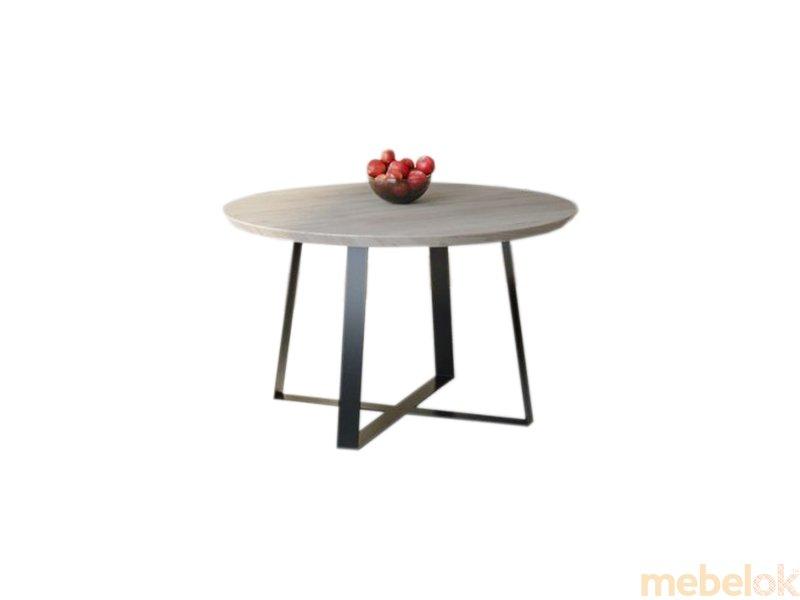 Обеденный стол HG125 Гольстебро Круглый 90 ДСП Дуб Серый