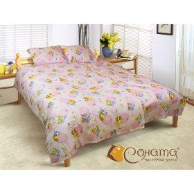 Полуторный комплект постельного белья Пет розовый