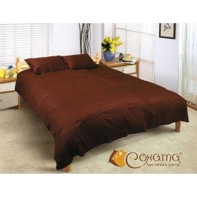Двуспальный Евро комплект постельного белья Шоколад