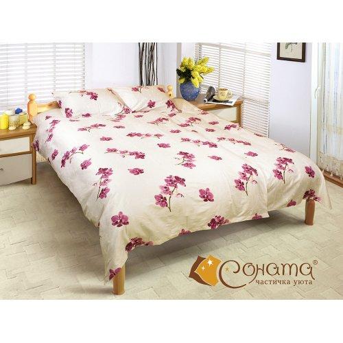 Двуспальный Евро комплект постельного белья Орхидея