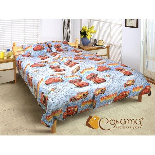 Детский полуторный комплект постельного белья Тачки 2