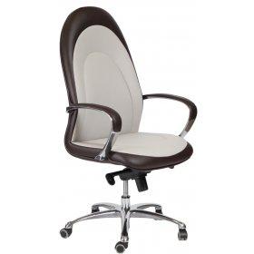 Кресло руководителя F104 Italia светло-серый с коричневым