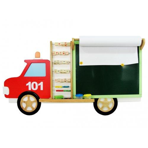 Мольберт настенный Пожарная машинка зеленый графит