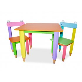 Детский комплект стол + два стула Карандашики