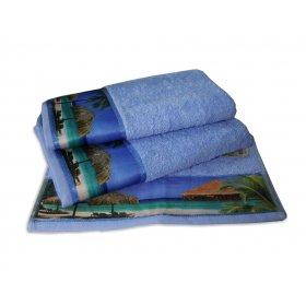 Махровое полотенце Романтика 35х70 Бали голубой