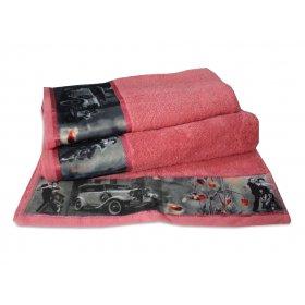 Махровое полотенце Романтика 35х70 Ретро коралловый
