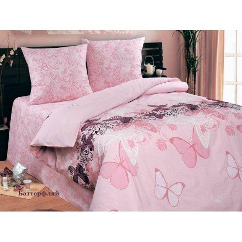 Полуторный комплект постельного белья Баттерфляй розовый