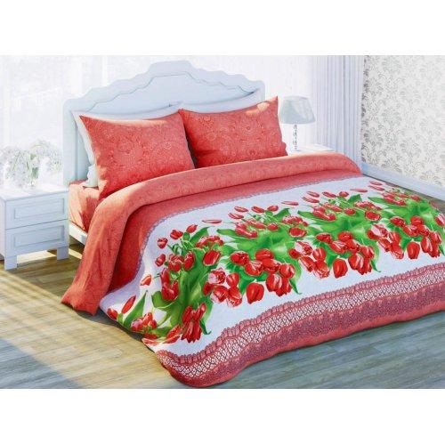 Семейный комплект постельного белья Красные тюльпаны