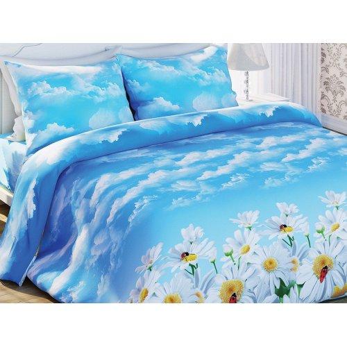 Двуспальный-евро комплект постельного белья Ромашки
