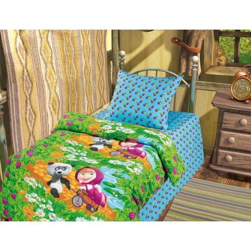 Полуторный детский комплект постельного белья Маша и Медведь Гость