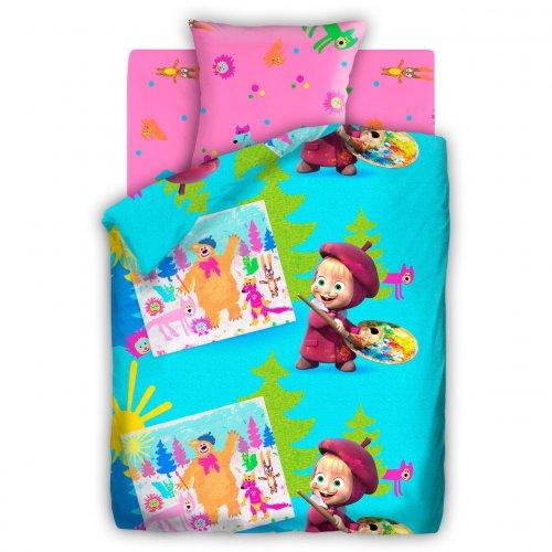 Полуторный детский комплект постельного белья Маша и Медведь Маша-художница