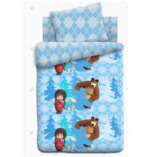 Полуторный детский комплект постельного белья Маша и Медведь Прятки