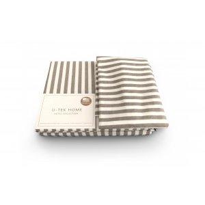 Комплект наволочка 50x70 2 шт.  и простынь натяжная Cotton Stripe Cacao 30 180х190