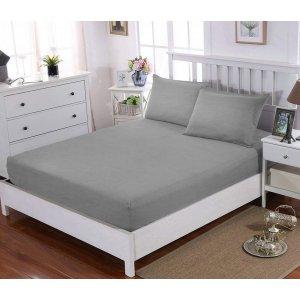 Комплект наволочка 50x70 2шт  и простынь натяжная Cotton Melange Grey 180х190