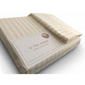 Комплект наволочка 50x70  и простынь натяжная Cotton Stripe Orange 30 80х190