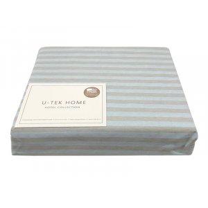 Простынь натяжная Cotton Stripe Blue-Grey 30 серая полоска