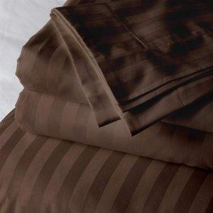 Простынь натяжная Home Sateen Brown Stripe 180х190
